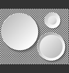 set of empty white plates dish wall template for vector image vector image
