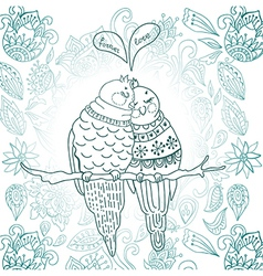 Two cute birds in love vector image