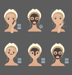 applying facial mask steps ways to apply vector image