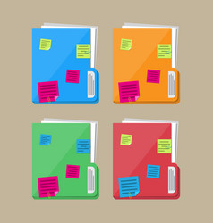 documents folder with paper sheets sticky notes vector image vector image