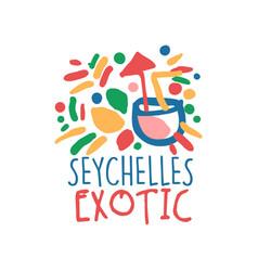 exotic seychelles vacation travel logo vector image