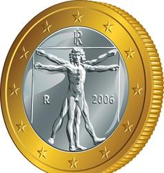Italian money gold coin euro vector image