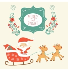 Merry Christmas card with cute Santa Claus and vector image