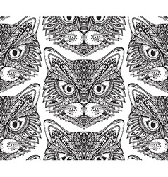 Seamless pattern with hand drawn ornate doodle cat vector image vector image