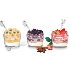 sweet delicious breakfast dessert yogurt vector image