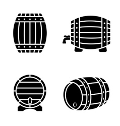 black barrels icons set on white background vector image