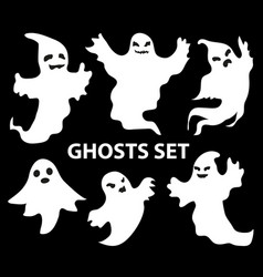 ghosts scary set flat style isolated on a black vector image vector image