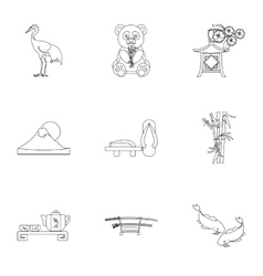 Japan set icons in outline style Big collection vector image vector image