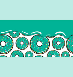 seamless pattern with blue mint flow donut vector image