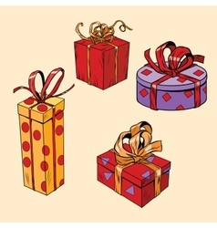 set of holiday Christmas boxes with gifts vector image
