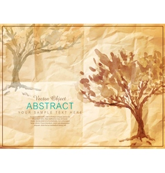 tree painted on old crumpled paper vector image