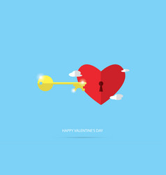 unlock red heart valentine concept vector image
