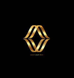3d golden abstract letter m gold luxury business vector image