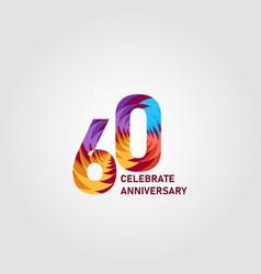 60 year anniversary elegant rainbow template vector