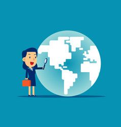 a business woman looking globe concept business vector image