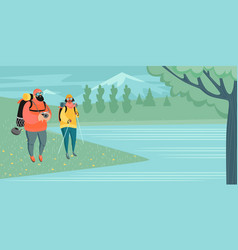 A couple tourists with backpacks and a camera vector