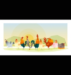 Animal background with chickens 1 vector image