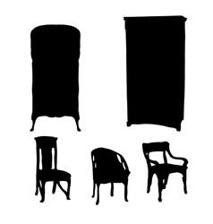 Art nouveau furniture silhouettes vector