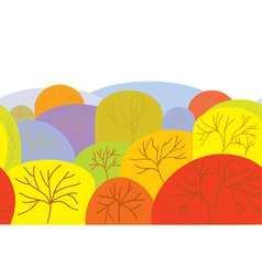 Autumn seamles banner with trees vector