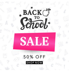 Back to school sale banner template vector