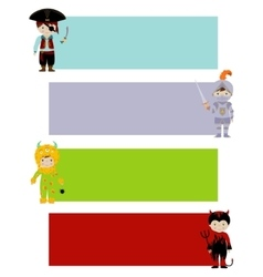 banners with cute kids in fancy costumes vector image