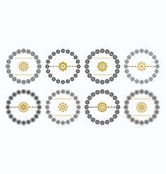 black and golden circle floral emblem set - set 1 vector image