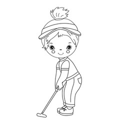 black and white little girl playing golf vector image