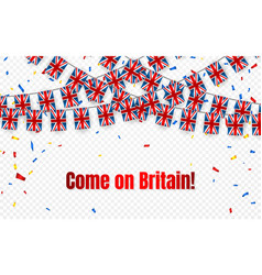 britain garland flag with confetti on transparent vector image