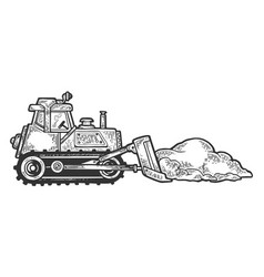 bulldozer shove snow engraving vector image