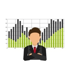 Businesman with statistics isolated icon design vector