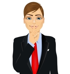businessman making silence or secret hand gesture vector image