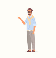 Businessman pointing away business man showing vector