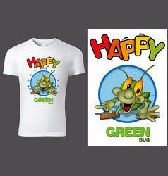 Child t-shirt with green smiling bug vector
