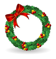 christmas holly wreath vector image