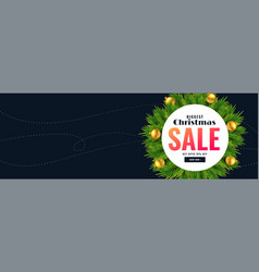 christmas season sale banner with text space vector image