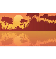Collection background beauty scenery jungle vector