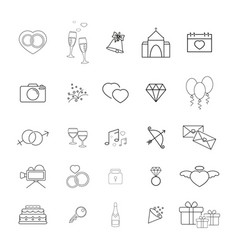 Collection of the wedding thin line icons vector