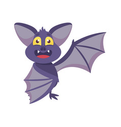 cute bat with funny face and membranous wings vector image