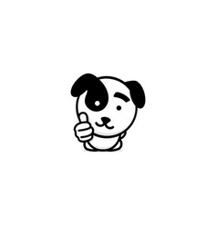 Cute puppy showing like thumb of hand up high vector
