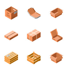 delivery box icon set isometric style vector image