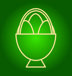 Easter eggs in the basket icon vector