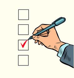 Election voting check mark on ballot vector