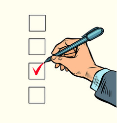 election voting check mark on the ballot vector image