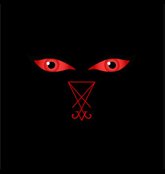 eyes of the devil with sigil of lucifer vector image