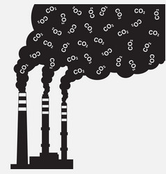 Factory silhouette with chimney polluting co2 vector
