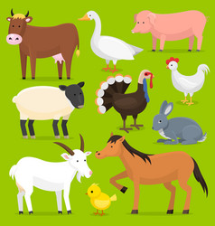 Farm animals birds farmland set vector