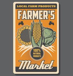 Farm vegetables harvest natural organic food vector