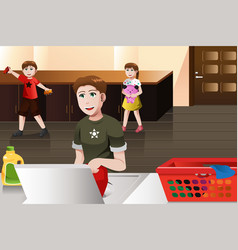 father doing laundry vector image