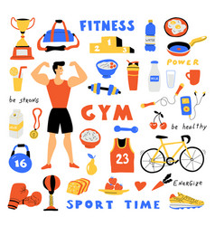 fitness lifestyle cute doodle set with lettering vector image