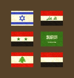 Flags of Israel Iraq Syria Saudi Arabia Lebanon vector
